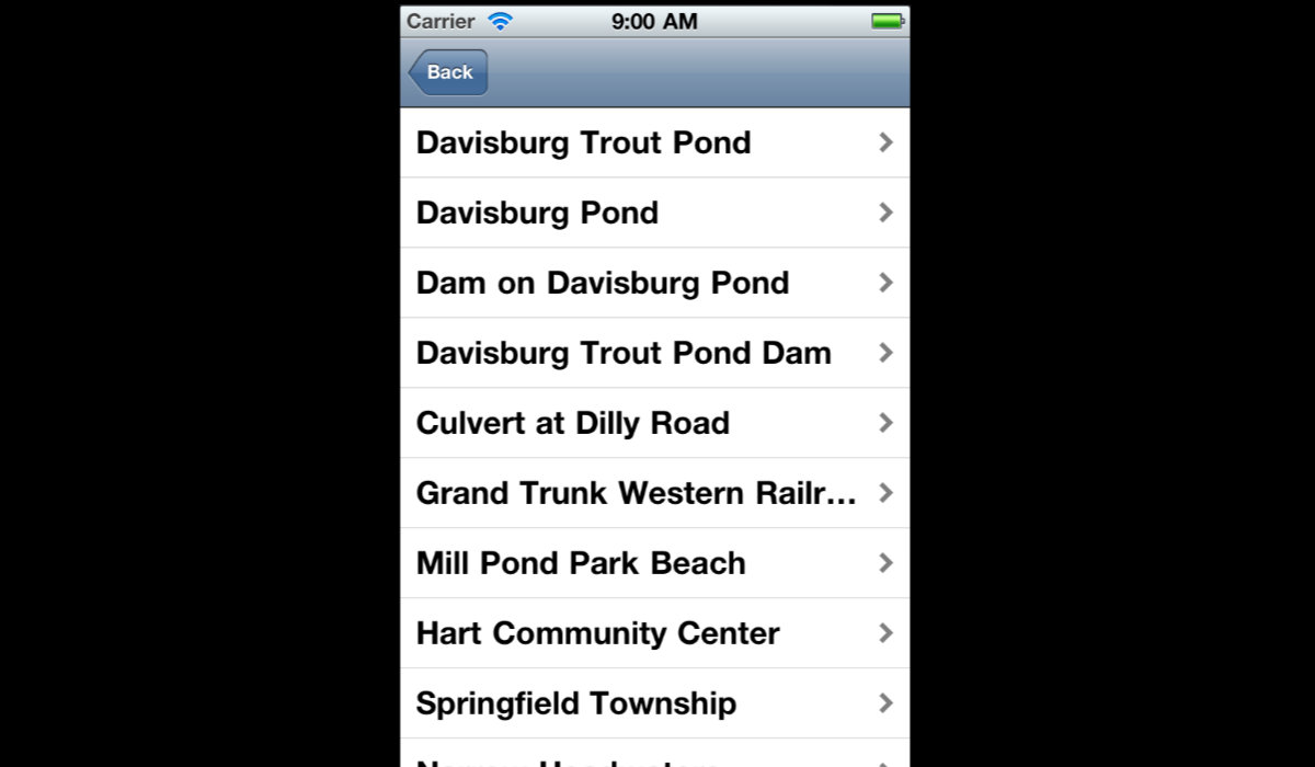iShiawassee iPhone App Destination List